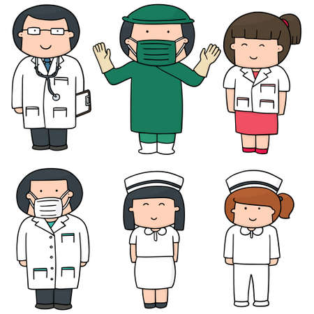 graphic icon: vector set of medical staff