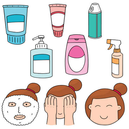 cleanser: vector set of face cleanser