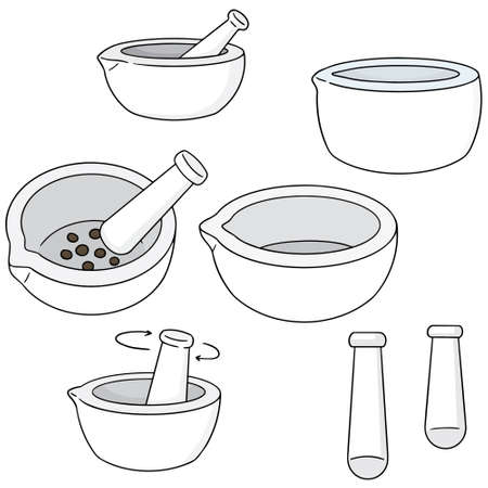 trituration: vector set of mortar and pestle