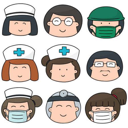 medical staff: vector set of medical staff