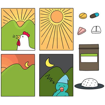 morning noon and night: vector set of taking medicine instructions Illustration
