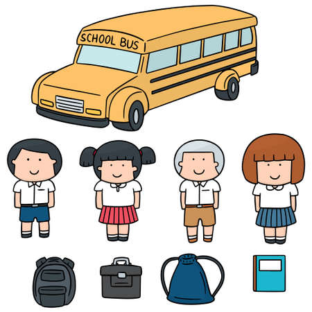 hand bag: vector set of student and school bus Illustration