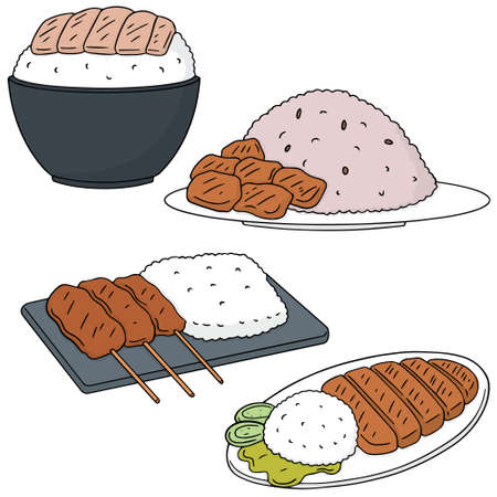 cooked rice: vector set of rice with pork