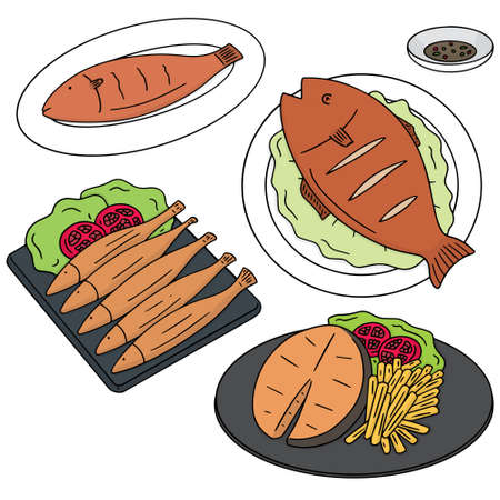 vector set of fried fish