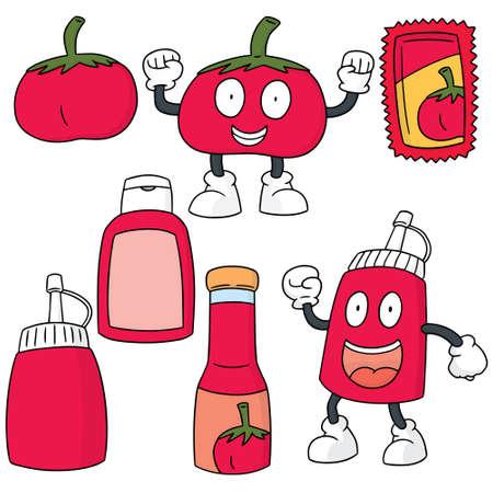 tomato sauce: vector set of tomato and tomato sauce