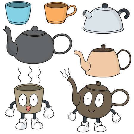 tea set: vector set of coffee or tea set Illustration