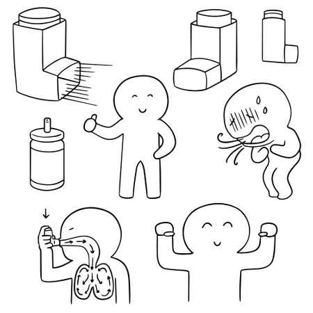 inhalation: vector set of inhalation medicine Illustration