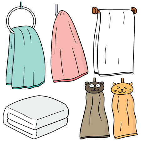 vector set van de hand handdoek