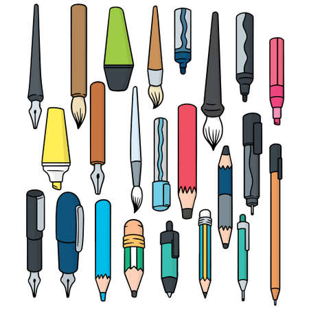 vector set of writing accessories Çizim