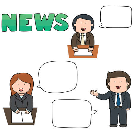 newsreader: vector set of news announcer Illustration