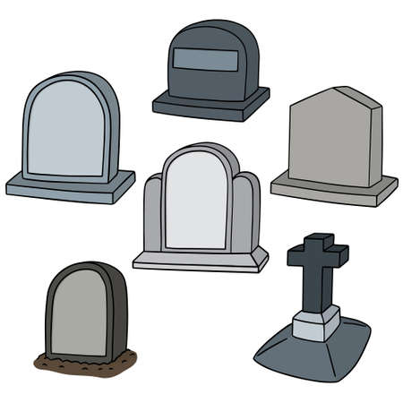 churchyard: vector set of tombstone