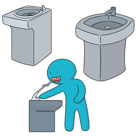 vector set of drinking water fountain Ilustrace