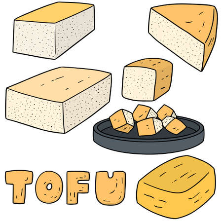 vector set of tofu Çizim