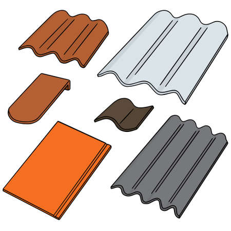 tile roof: vector set of roof tile