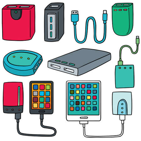 vector set of smart device and powerbank Illustration