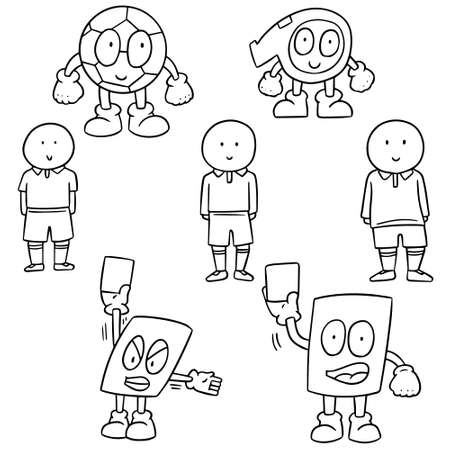 card player: vector set of soccer player, ball, whistle and card cartoon