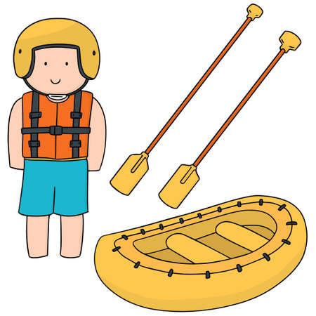 vector set of inflatable boat rafting Illustration