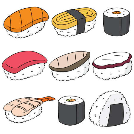 egg roll: vector set of sushi (rice with raw fish)