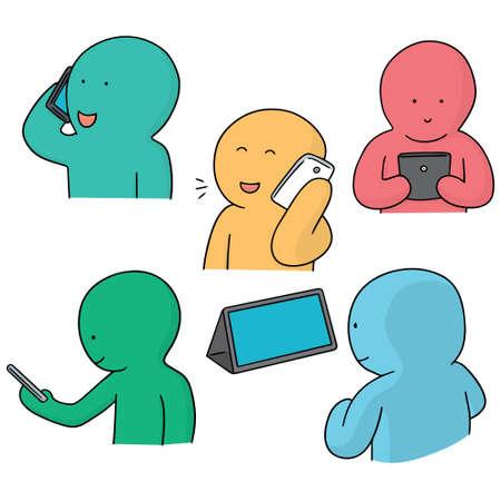 smartphone addiction: vector set of smartphone addiction