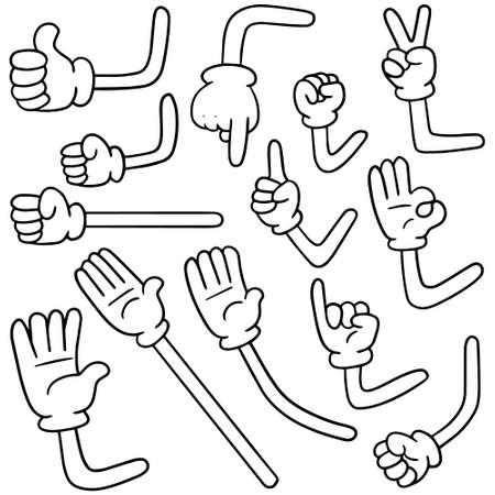 vector set of cartoon arm Çizim