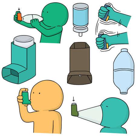 vector set of inhalation medicine Illustration