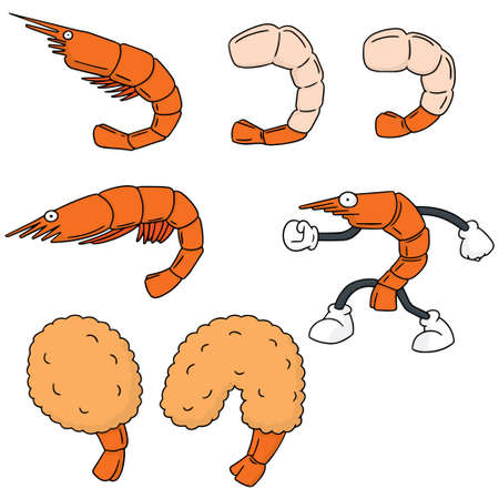 fried shrimp: vector set of shrimp