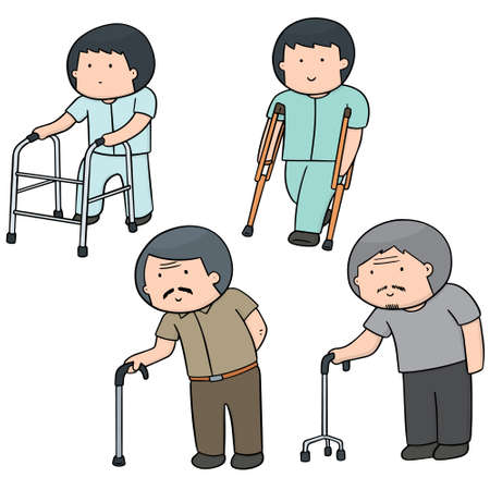 vector set of man with walking stick Stock Vector - 60829787