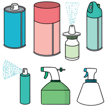 spray can: vector set of spray can and bottle Illustration
