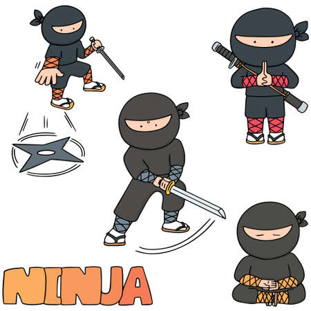 vector set of ninja Vettoriali