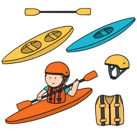 vector set of kayak and accessories