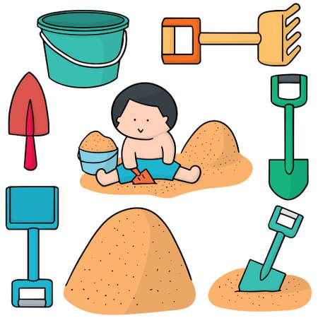 vector set of kid playing sand Illustration