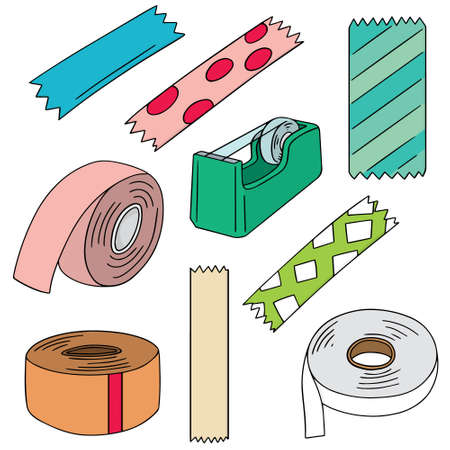 vector set of adhesive tape Çizim