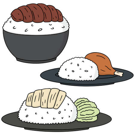 chicken rice: vector set of rice with chicken