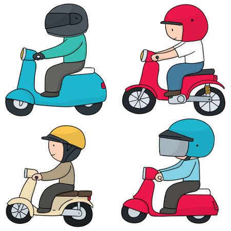 vector set of riding motorcycle Çizim