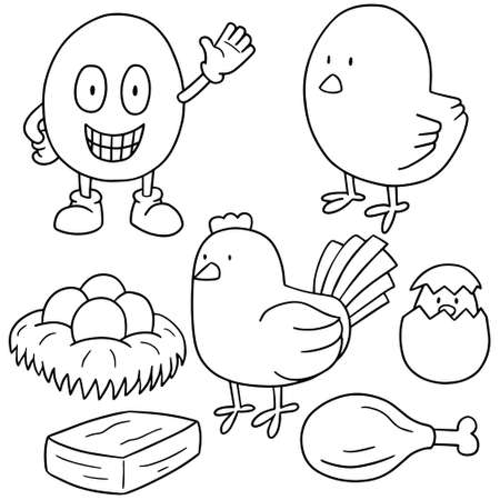 nuggets: vector set of chicken and egg