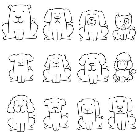 bull pen: vector set of dog