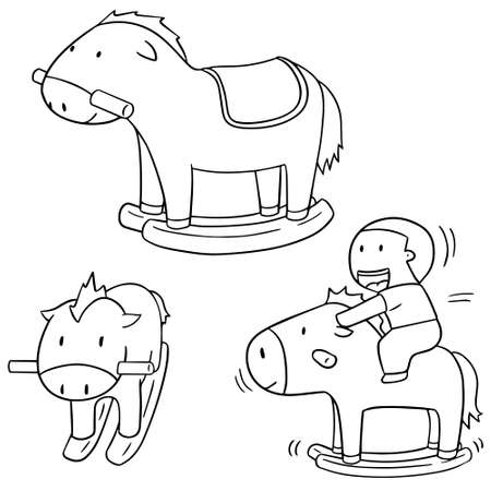 rocking: vector set of rocking horse