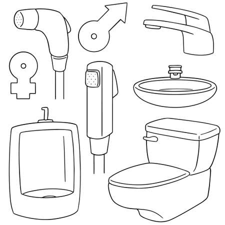 urinate: vector set of toilet icon