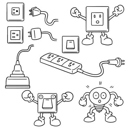 switch plug: vector set of electric switch and plug Illustration