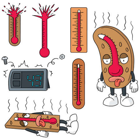 heatwave: vector set of thermometer Illustration