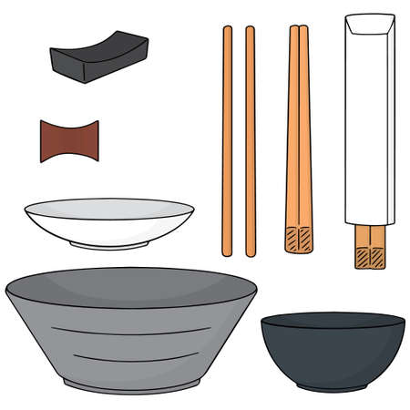 chopsticks: vector set of chopsticks and bowl
