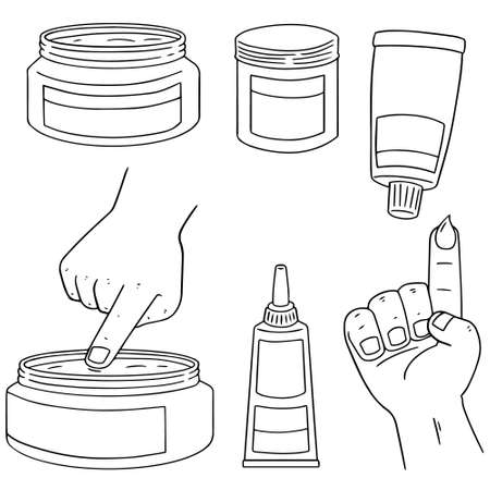 topical: vector set of topical cosmetic and topical medicine