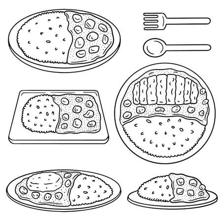 curry: vector set of curry rice