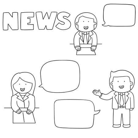 newsreader: vector set of news announcer Illustration