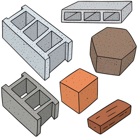 vector set of concrete construction block Illustration