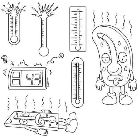 sweaty: vector set of thermometer Illustration