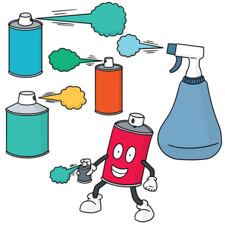 vector set of spray can and bottle Illustration