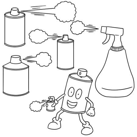 freshener: vector set of spray can and bottle Illustration