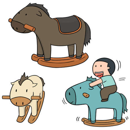 vector set of rocking horse