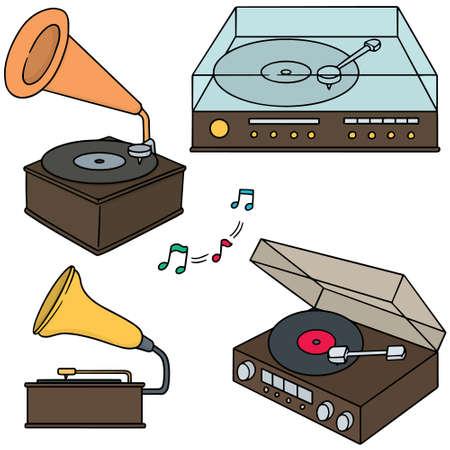 vector set of phonograph  イラスト・ベクター素材